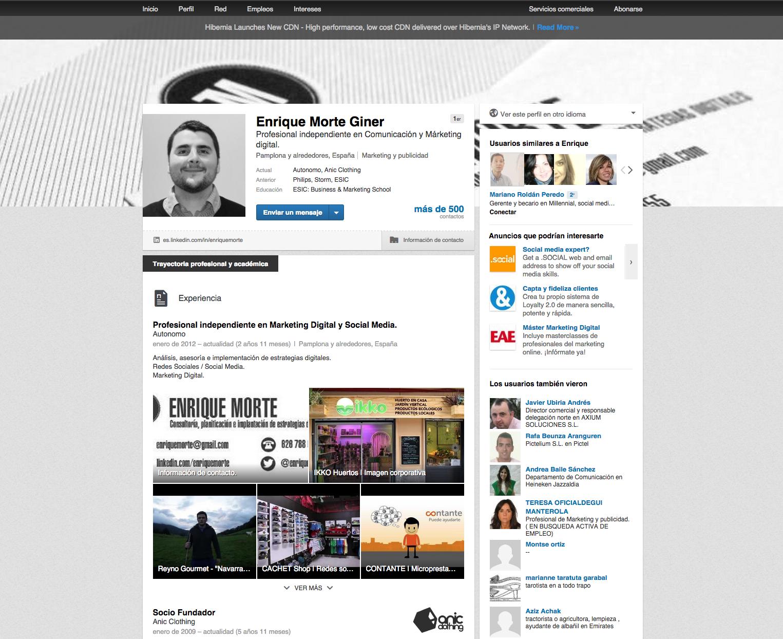 Perfil en Linkedin de Enrique Morte