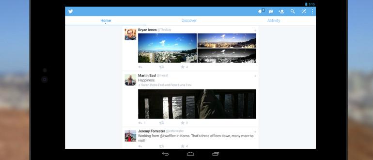 Twitter en una tablet.